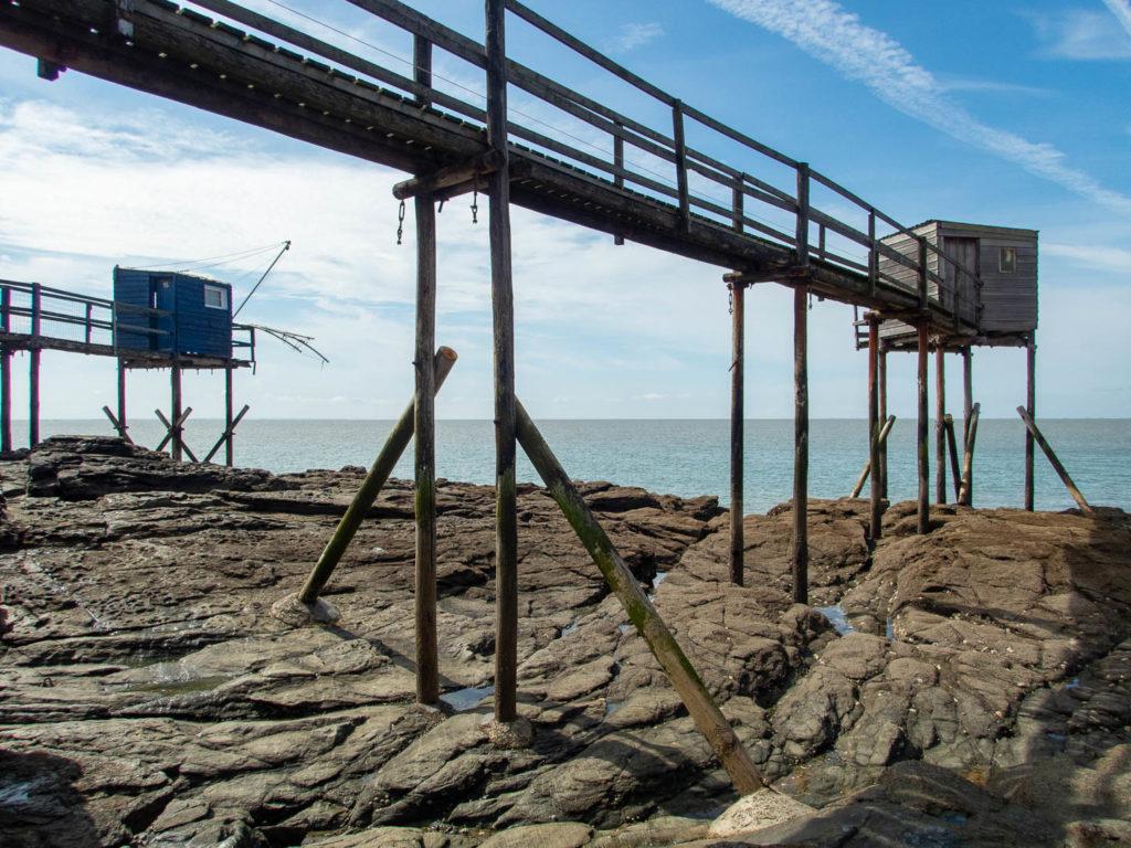cabanes de pêcheurs à marée basse