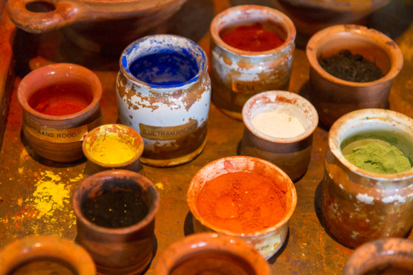 colour powders used by Rembrandt, in his house