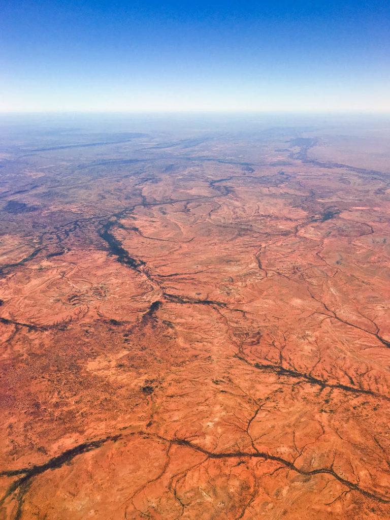 désert australien vu d\'avion