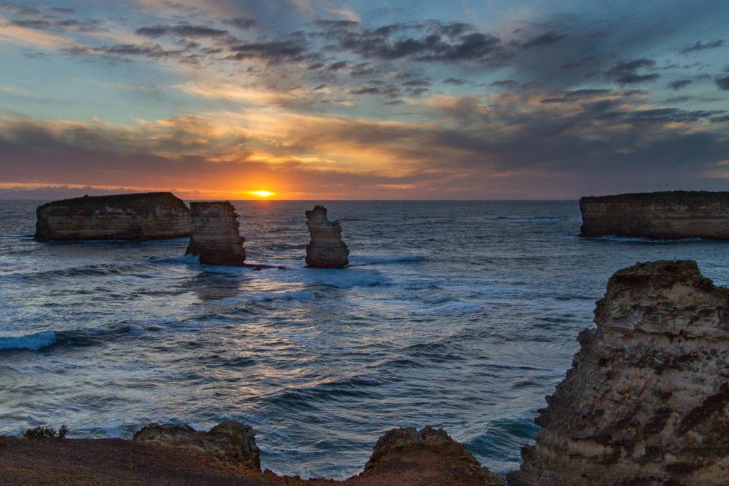 coucher de soleil sur les 12 apôtres