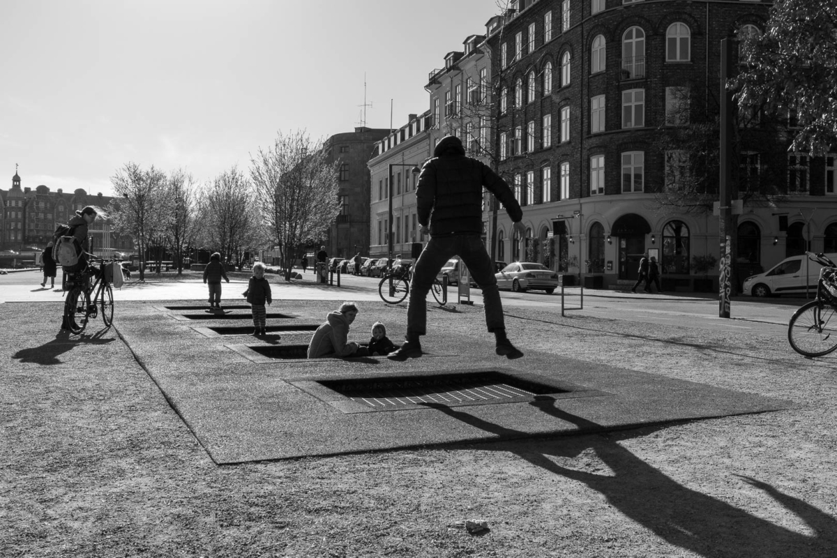 trampoline de rue à Copenhague